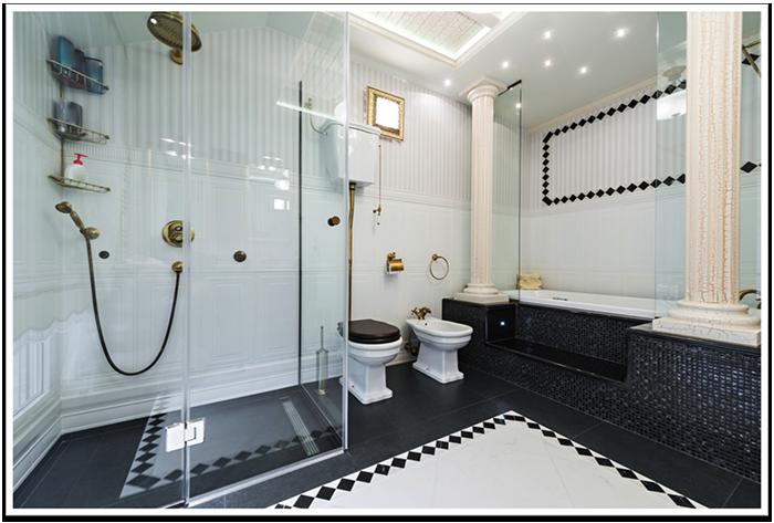 Bathroom color schemes frameless shower doors - Choose bathrooms palette ...