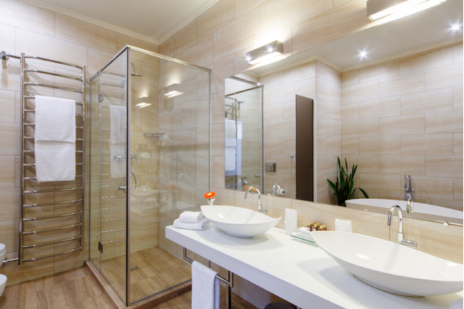Mirrors will perfectly complement your glass shower doors.
