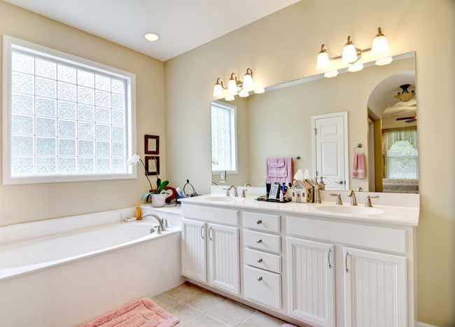 Consider frosted windows for your bathroom design.