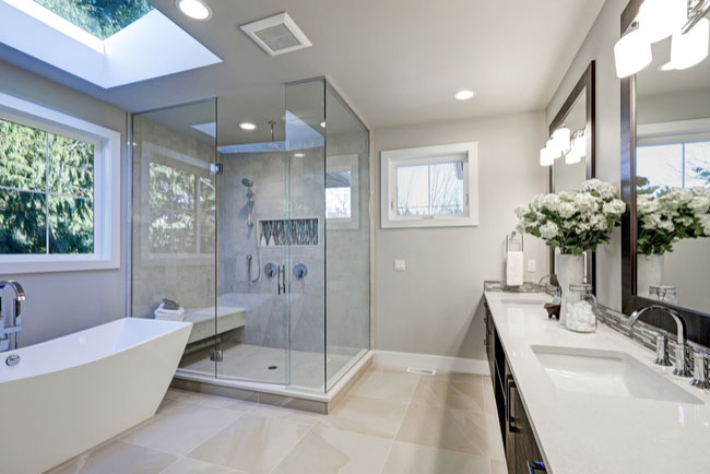 Upgrade your bathroom with glass shower doors.