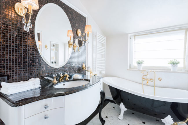 Get a big, frameless mirror to upgrade your bathroom.