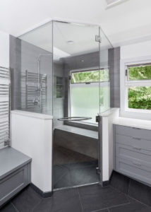 Create a trendy, glass shower door during your bathroom renovation.