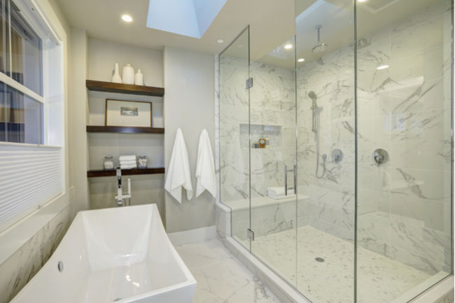 Design your walk-in shower with new glass shower doors.