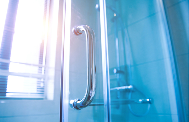 A semi-framed glass shower door, the perfect door for your shower enclosure.