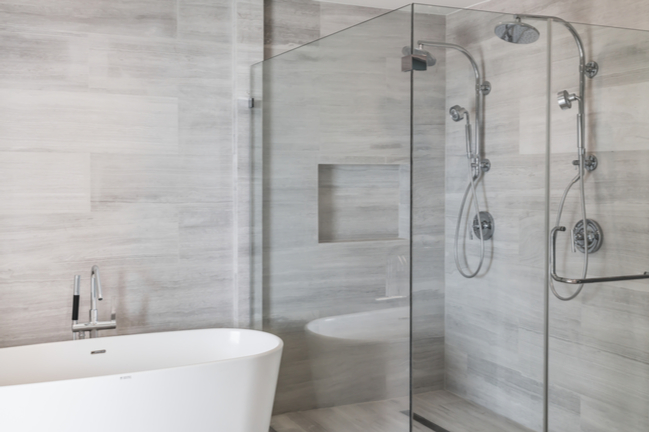 Two person shower enclosure makes for a luxurious design.