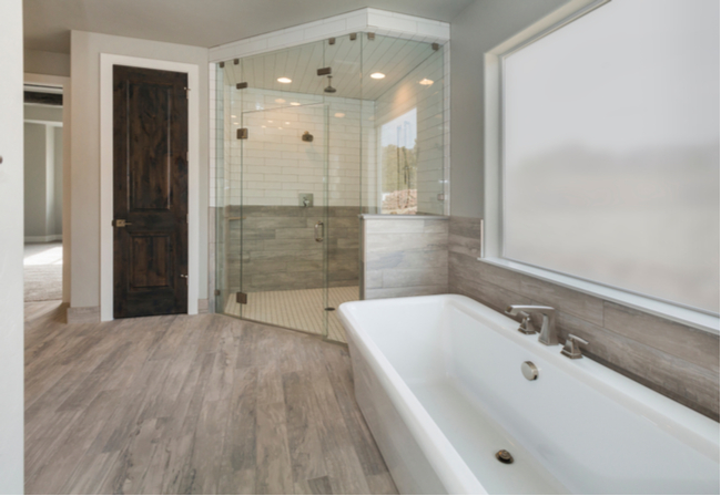 Neo angle glass shower door in a master bathroom.